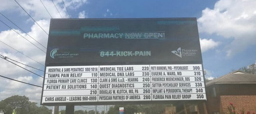 Sign board of Florida Pain relief group at Tampa