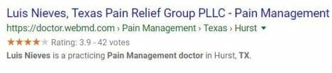 Dr. Luis Nieves Google rating